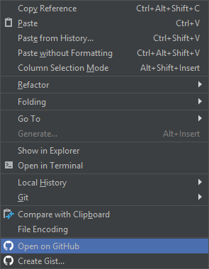 "PhpStorm: пункт ""Open on GitHub"" из контекстного меню"