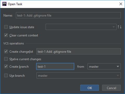 PhpStorm: диалоговое окно управления задачами