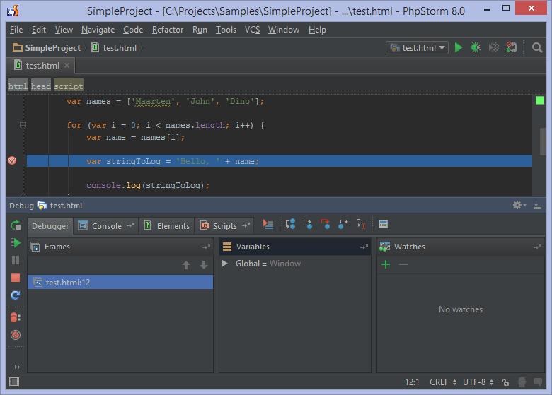 """PhpStorm: результаты отладки в окне инструмента """"Debug"""""""