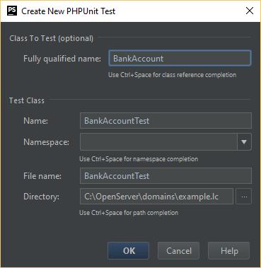 "PhpStorm: окно ""Create New PHPUnit Test"""