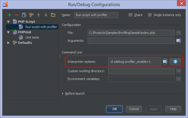 "PhpStorm: окно ""Run/Debug Configurations"""