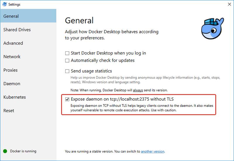 "Docker Desktop: раздел настроек ""General"""