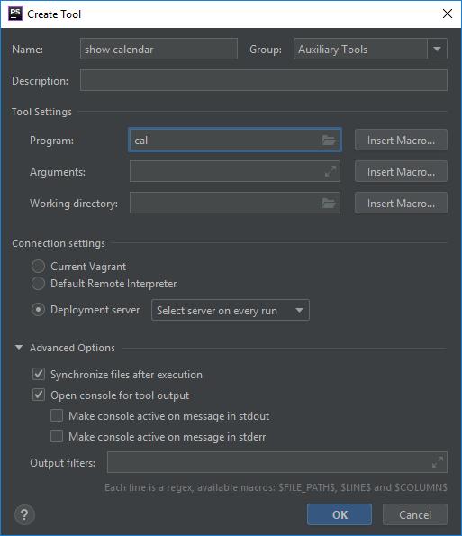 """PhpStorm: окно """"Create Tool"""""""