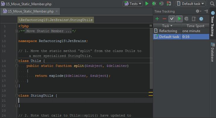 PhpStorm: редактор кода и плагин учёта времени